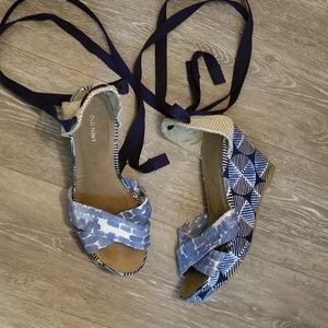 Old navy lace up  blue sandal wedges size 7